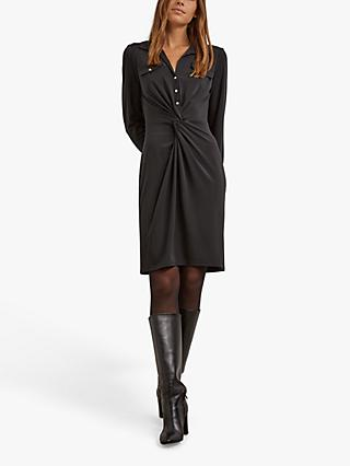 Gerard Darel Tina Twist Front Shirt Dress, Black