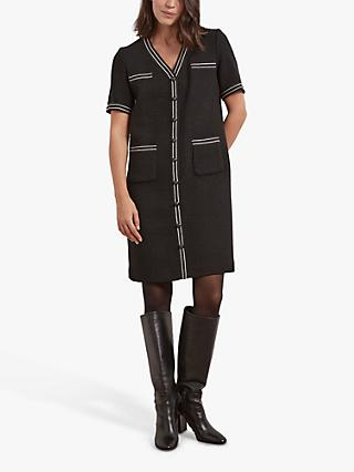 Gerard Darel Tiara Contrast Piping Shift Dress, Black
