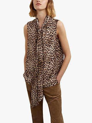 Gerard Darel Azzura Leopard Print Tie Neck Blouse, Brown