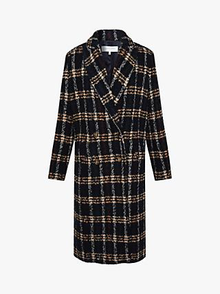 Gerard Darel Sylvia Check Pattern Straight Coat, Navy/Multi