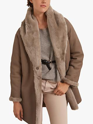 Gerard Darel Emy Sheep Skin Coat, Beige