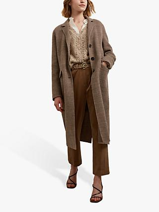 Gerard Darel Saveria Check Long Wool Coat, Dark Brown