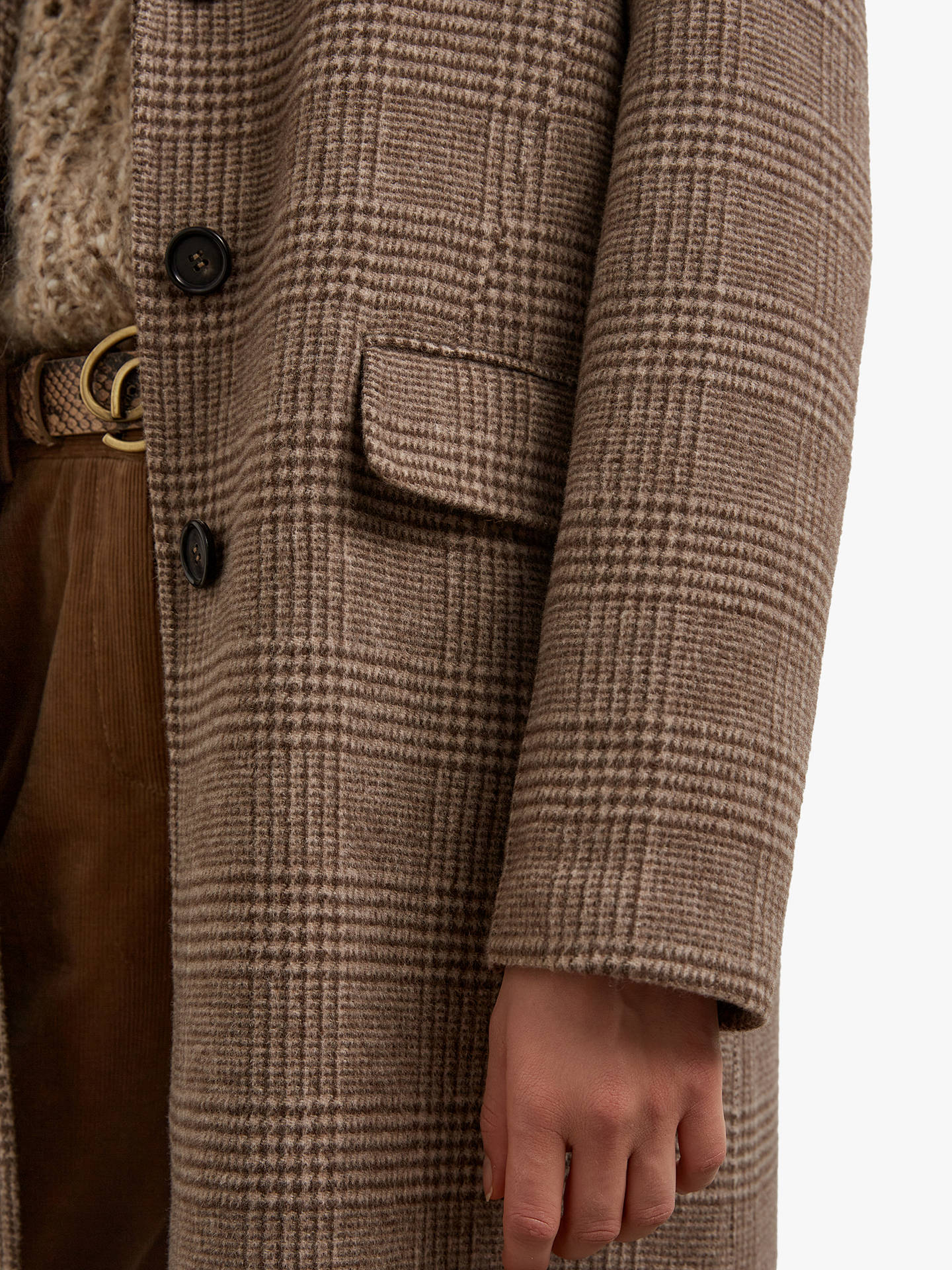 Buy Gerard Darel Saveria Check Long Wool Coat, Dark Brown, 16 Online at johnlewis.com