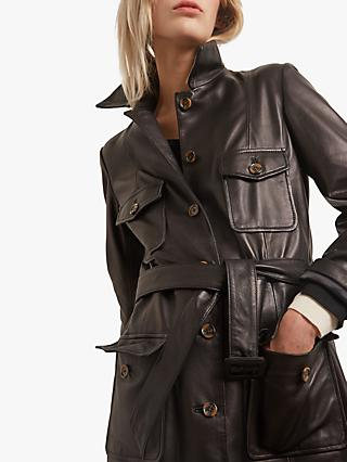 Gerard Darel Erin Leather Belted Coat, Black