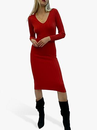 French Connection Jena Knits V-Neck Midi Dress, Canyon Rock