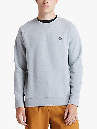 Timberland Exeter Cotton Blend Crew Neck Jumper, Medium Grey Heather