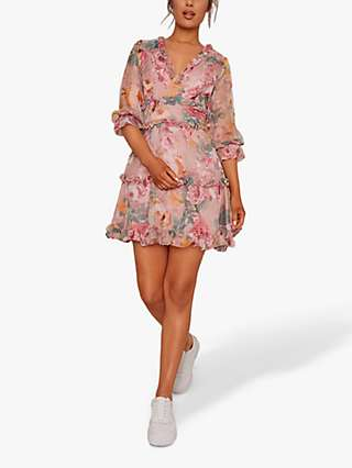 Chi Chi London Hartleigh Floral Ruffle Mini Dress, Mink Pink