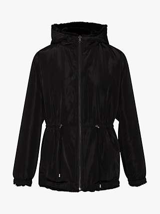 Gerard Darel Sasha Faux Fur Lined Hooded Coat, Black