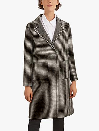 Gerard Darel Saly Check Wool Coat, Black