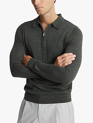 Reiss Robertson Merino Wool Zip Neck Polo Shirt