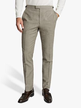 Reiss Oak Wool Check Tailored Fit Suit Trousers, Brown