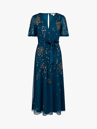 Monsoon Roza Sequin Embellished Midi Dress, Teal