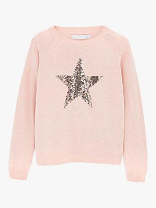 Mintie by Mint Velvet Girls' Sequin Star Jumper, Pink