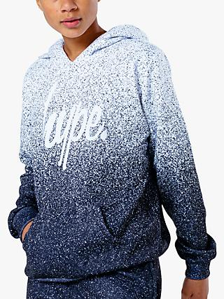 Hype Boys' Speckle Fade Hoodie, White/Blue