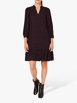 Hobbs Erin Spot Print V-Neck Dress, Merlot