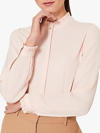 Hobbs Tina Button Through Ruffle Neck Blouse, Pale Pink