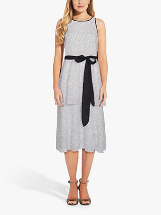 Adrianna Papell Ribbon Tie Polka Dot Midi Dress, Ivory