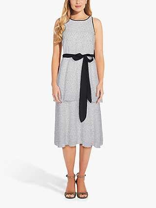 Adrianna Papell Ribbon Tie Polka Dot Midi Dress, Ivory