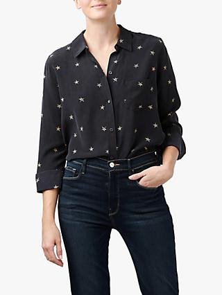 Rails Kate Animal Star Print Silk Shirt, Noir