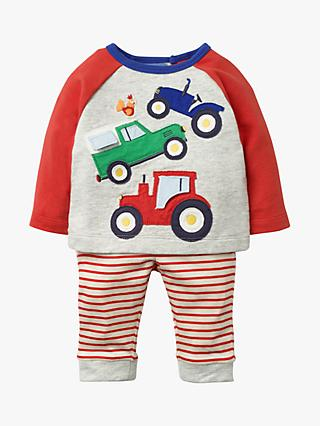 Mini Boden Baby Fun Jersey Appliqué Tractor Play Set, Grey Marl Vehicles