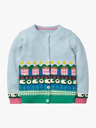 Mini Boden Girls' Farm Fair Isle Cardigan, Provence Blue