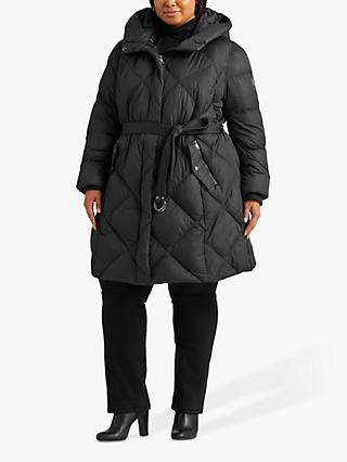 Lauren Ralph Lauren Curve Diamond Quilt Belted Coat, Black