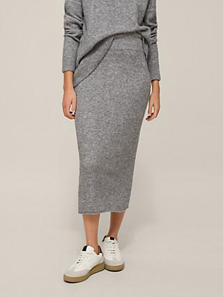 Modern Rarity Lofty Knit Skirt, Silver Grey