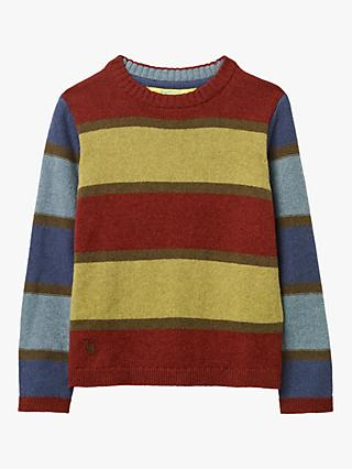 White Stuff Boys' Souvenir Stripe Jumper, Green/Multi