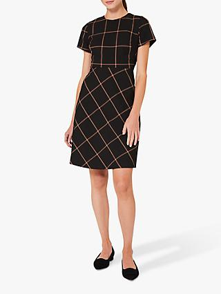 Hobbs Evie Check A-Line Mini Dress, Black