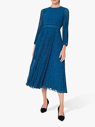 Hobbs Isabella Spot Pleated Dress, Kingfisher