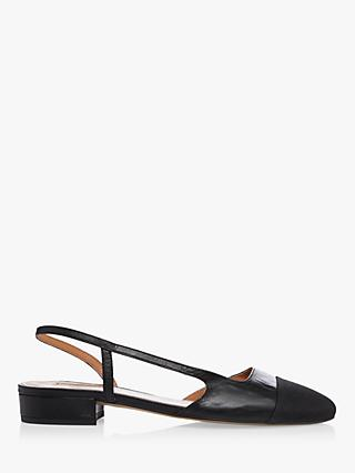 Dune Corallina Leather Pointed Block Heel Slingback Shoes, Black