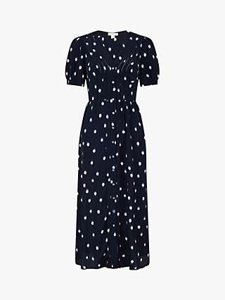 Monsoon Spot Print Button Through Midi Dress