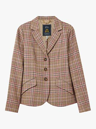 Joules Highcombe Wool Blend Check Tweed Jacket, Pink