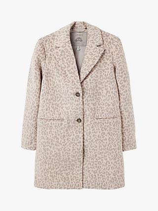 Joules Costello Wool Blend Leopard Jacquard Crombie Coat, Purple