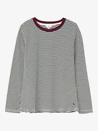 Joules Selma Long Sleeve Round Neck Cotton Top, Green/Stripe
