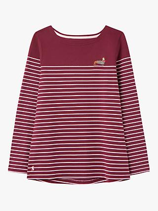 Joules Harbour Embroidered Stripe Jersey Top, Purple