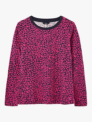 Joules Selma Long Sleeve Round Neck Cotton Top, Pink Leopard