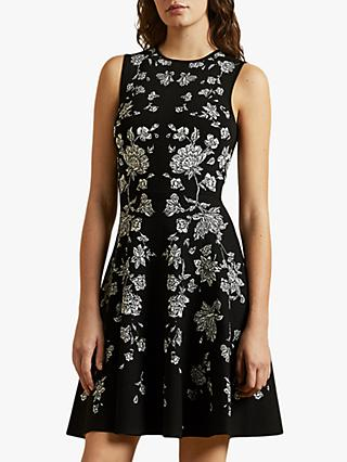 Ted Baker Naomyy Rhubarb Jacquard Knitted Skater Dress, Black