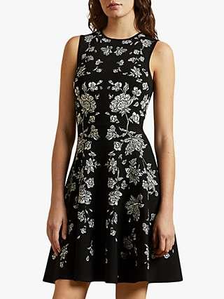 Ted Baker Naomyy Rhubarb Jacquard Knitted Skater Dress, Black