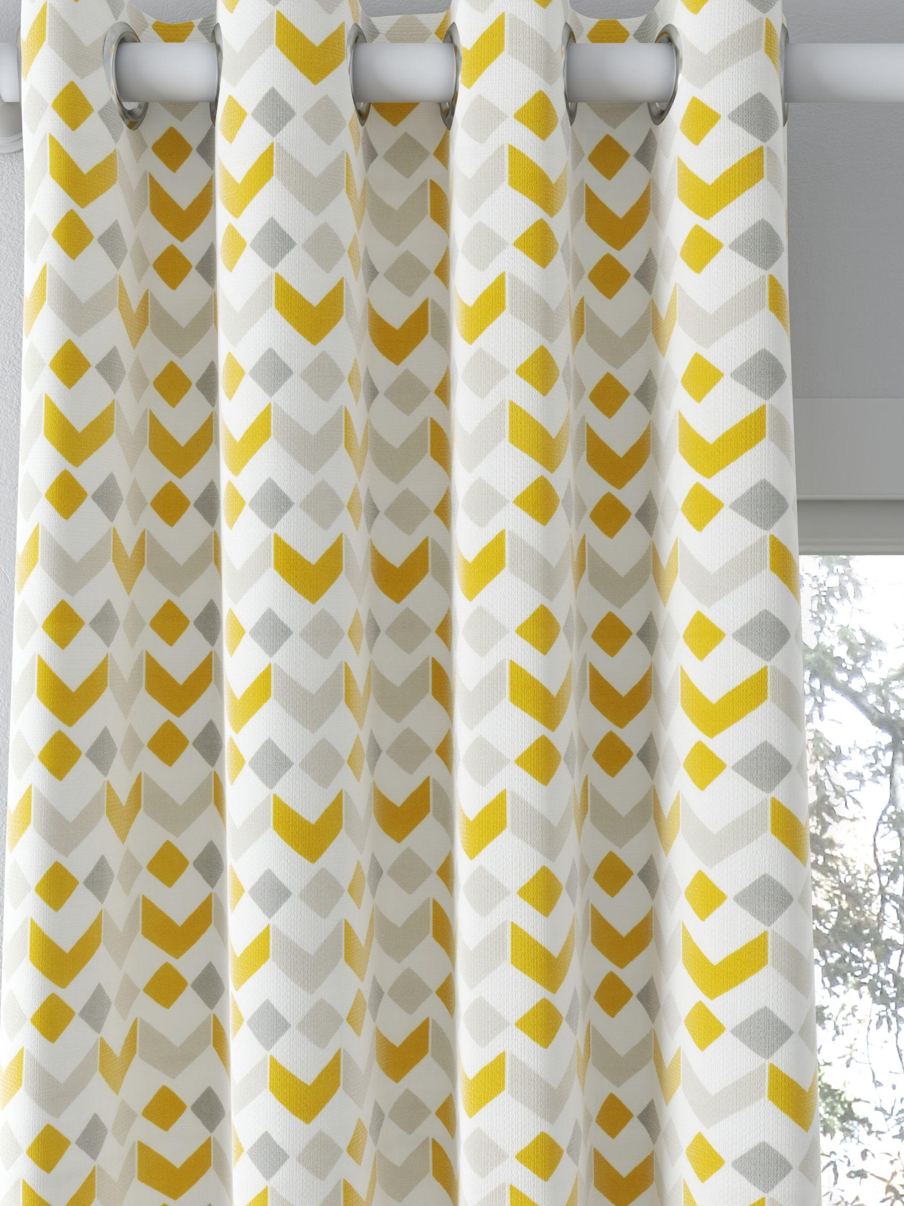 John Lewis & Partners Alda Print Pair Blackout Coated Eyelet Curtains, Grey/Citrine