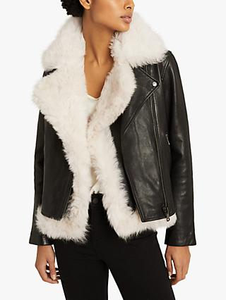 Reiss Nolan Leather Biker Jacket with Shearling Gilet, Black