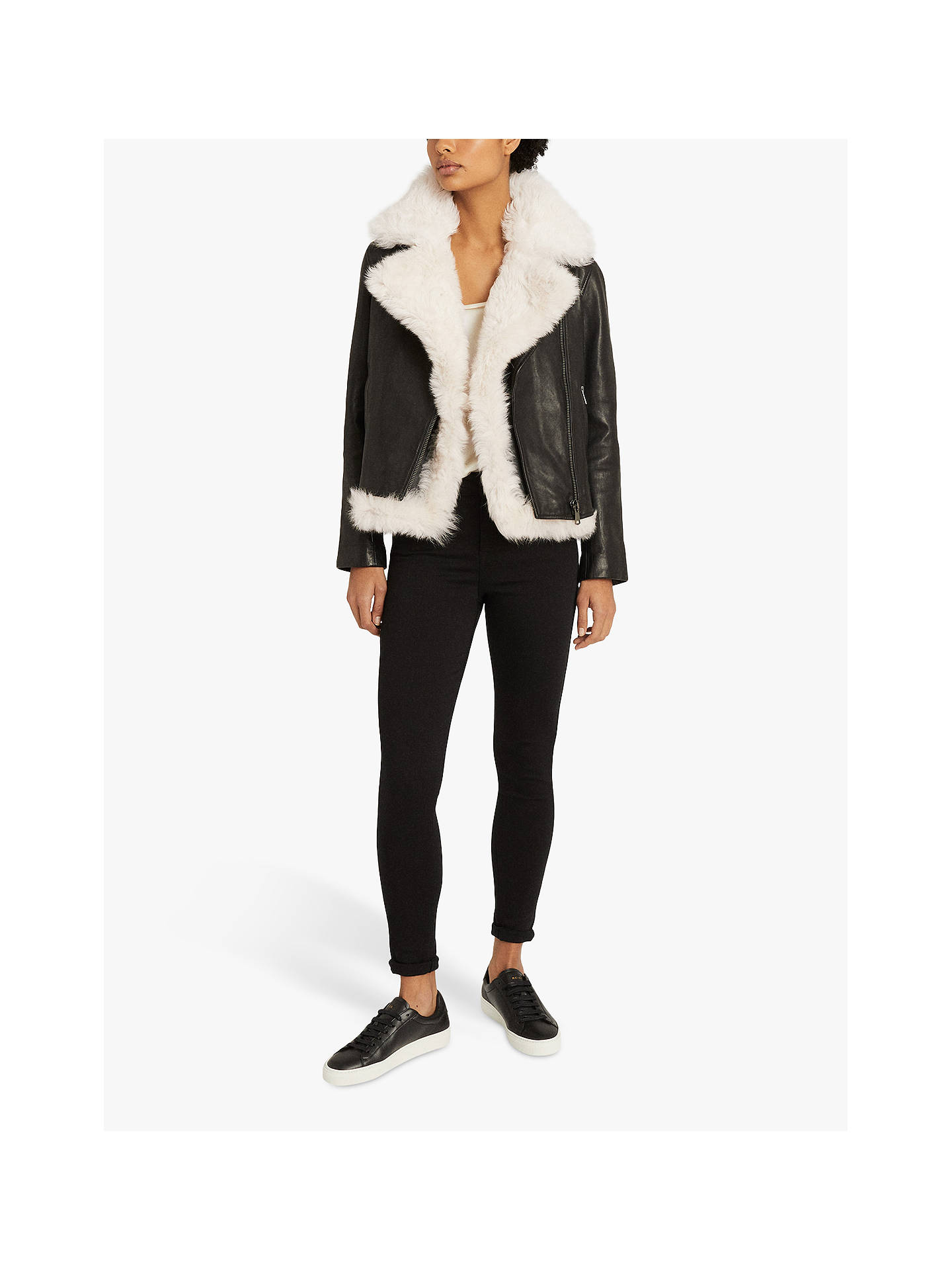 Buy Reiss Nolan Leather Biker Jacket with Shearling Gilet, Black, 6 Online at johnlewis.com