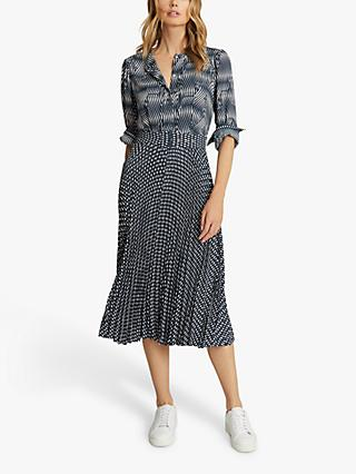 Reiss Ina Abstract Print Midi Dress, Blue/White