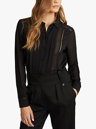 Reiss Arin Semi Sheer Panel Shirt, Black