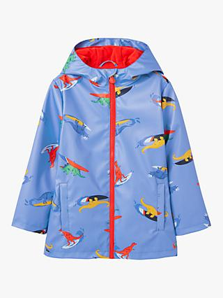 Little Joule Boys' Skipper Dinosaur Print Showerproof Raincoat, Blue