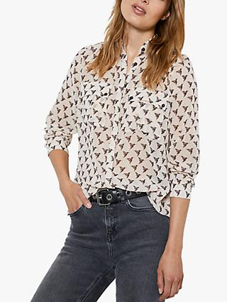 Mint Velvet Hattie Bird Print Blouse, Multi