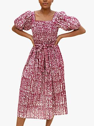 East Sari Batik Abstract Midi Dress, Pink