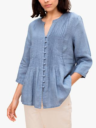 East Linen Pintuck Front Blouse, Blue