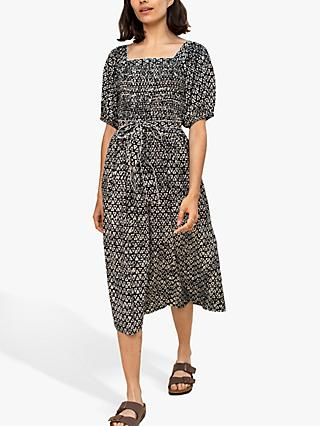 East Daya Batik Print Square Neck Dress, Black