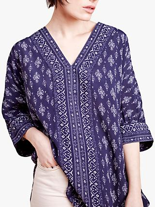 East Garima Abstract Print Top, Navy